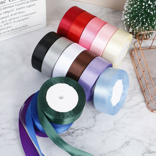 22M//Roll 2.5CM Silk Satin Ribbons for Crafts Gift Wrap Party Wedding DecoratBDA