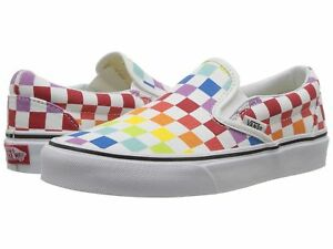 Image is loading NEW-Vans-Slip-On-Rainbow-Chex-Skate-Shoe- 98b8bf56a