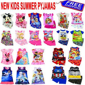 NEW-Sz-2-16-KIDS-SUMMER-PYJAMAS-BOYS-OUTFITS-TEES-PJS-SLEEPWEAR-NIGHTIE-TSHIRT