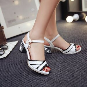 953d5a60be07 Fashion Women Stripe Sandals Cut out Chunky heel Buckle Elegant ...