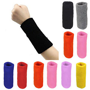 Cotton-Sweat-Band-Sweatband-Wristband-Arm-Basketball-Gym-Unisex-Bracers-Sports