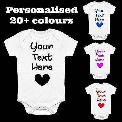 PERSONALISED CUSTOM PRINTED BABYGROW VEST GIFT ANY NAME WORDING BODYSUIT BABY