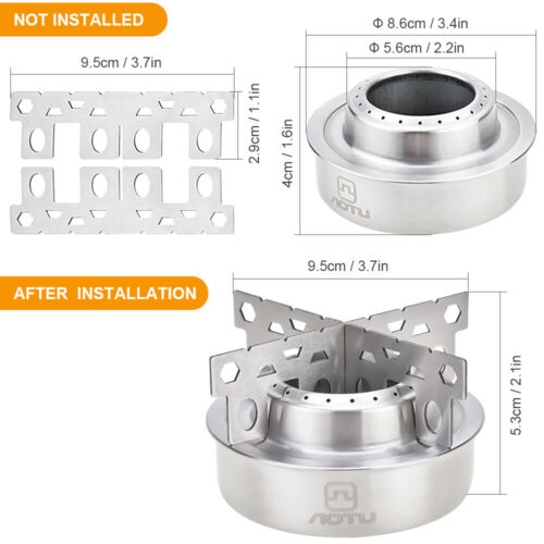 Portable Camping Alcohol Stove Ultralight Outdoor Hiking Cooking Burner w//Rack