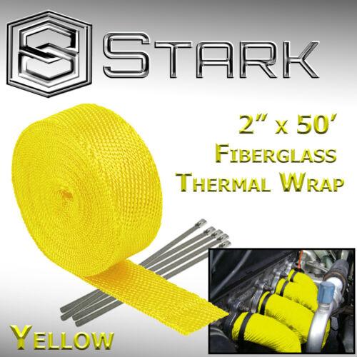 "Yellow W 2/"" x 50FT Exhaust Header Fiberglass Heat Wrap Tape w// 5 Steel Ties"