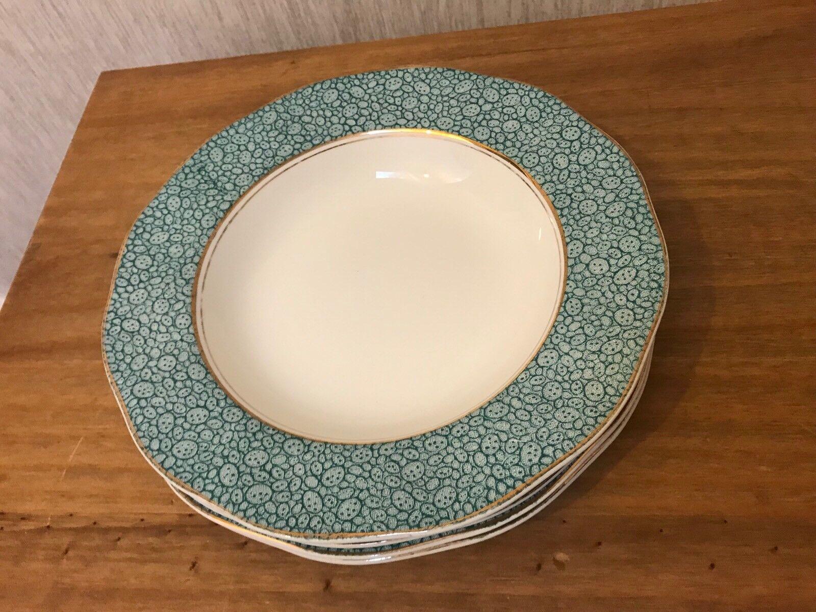 4 Vintage Wedgwood Green Rimmed GARDEN Cereal Soup Bowls