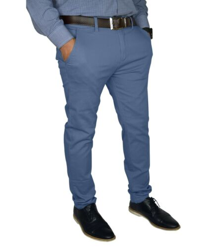 Mens Slim FIT Stretch Chino Trousers Casual Flat Front Flex Full Pants