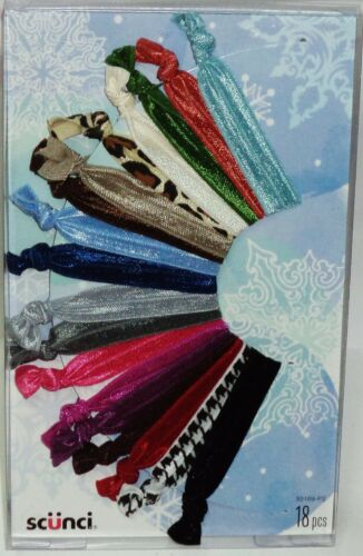 1 Package Of 18ct  Scunci Hair Ties Assorted Satin Sparkly /& Pattern Colors NIP