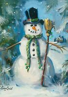 Top Hat Snowman Winter Christmas Snow old Fashioned Country Folk Sm Flag