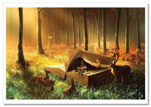 Little boy read book Forest Fantasy by Cyril Rolando Russian Modern Postcard