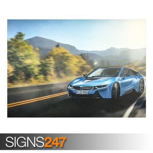 9097 BMW I8 BLUE Car Poster Photo Picture Poster Print Art A0 A1 A2 A3 A4