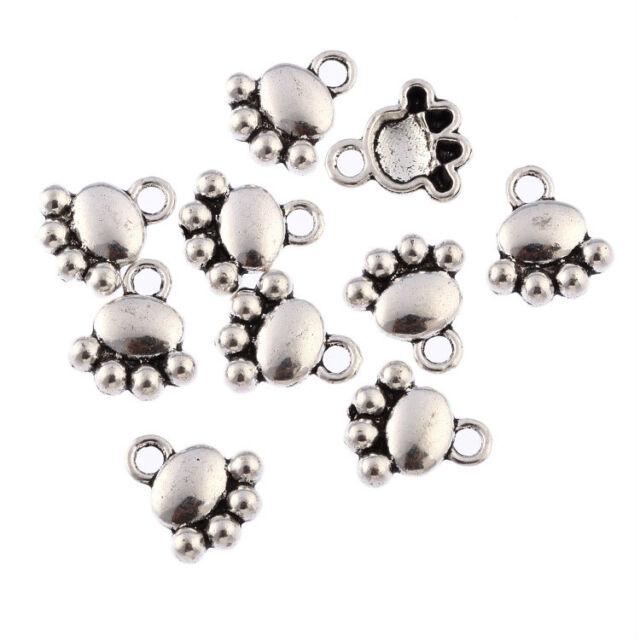 10x Dogs Paw Print  Tibetan Silver Bead charms Pendants FIT Bracelet 10*10mm