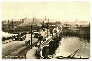 Vintage-postcard-Queens-Bridge-Belfast-N-Ireland-tram-cars-W-E-Walton