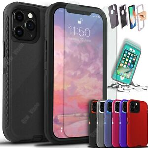 For iPhone 13 12 11 Pro X XR Max 6 7 8 Plus Shockproof Case + Screen Protector