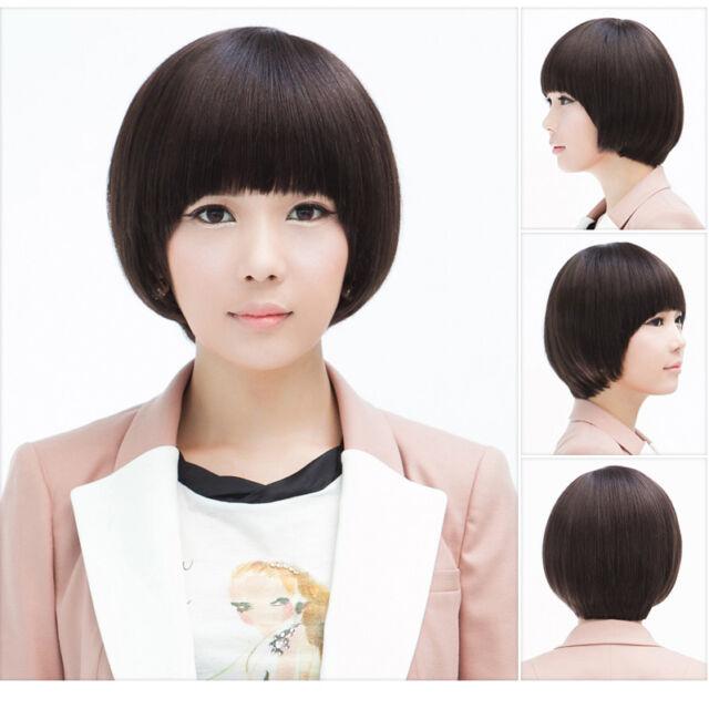 Mushroom Head Bob Style Women Short School Girl S Blunt Bowl Cut