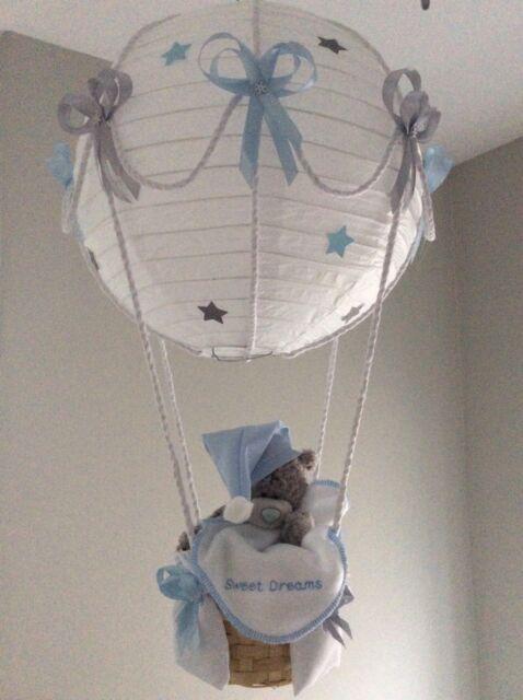 made to order. Starry night Hot Air Balloon nursery light shade Silver grey