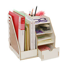 Desktop Bookshelf File Office Organizer Desk Storage Organizer Rack Shelf White