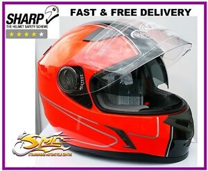 Viper-RS-V9-Speed-Hi-Viz-Flourescent-Neon-Orange-Motorcycle-Helmet-ECE-ACU-Gold