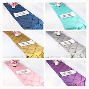 """12""""x108"""" Taffeta Pintuck Table Runner Cloth For Wedding Party Dining Decoration"""