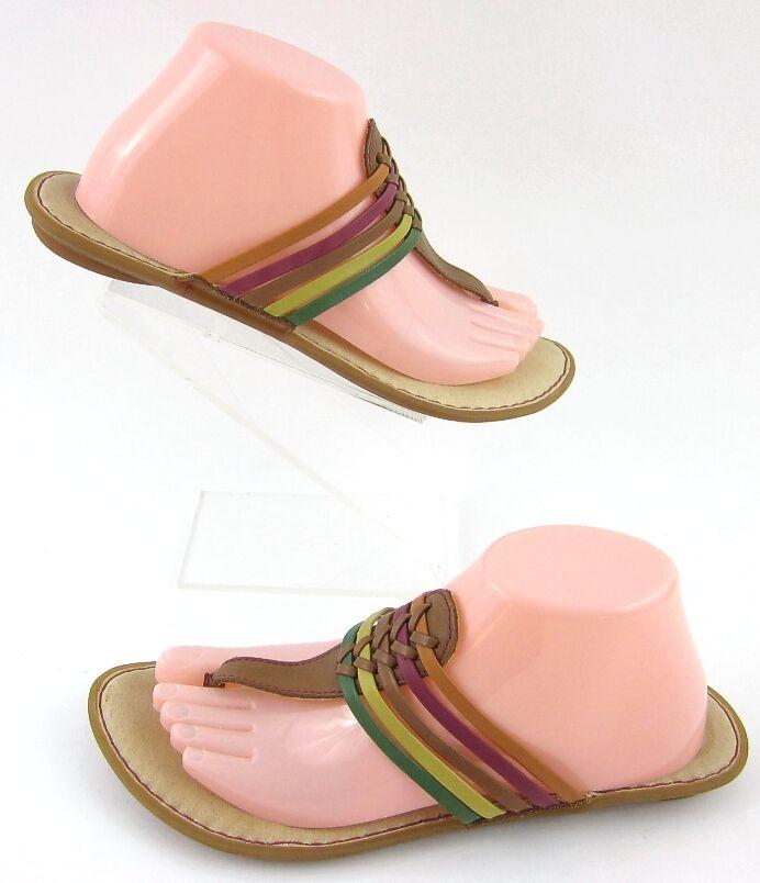 Born 'Hoda' Thong Sandals Citrus Multi Leather Straps Sz 9 Worn 2X
