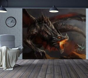 Superbe-huile-peinture-effet-feu-Breathing-Dragon-papier-peint-mur-mural