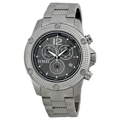 Versus By Versace Aventura Chronograph Black Dial Stainless Steel Mens Watch