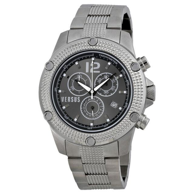 Versus By Versace Aventura Chronograph Black Dial Stainless Steel Mens Watch