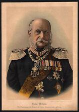 Chromo-Lithographie 1888, ADEL, Kaiser Wilhelm mit vielen Orden (110)