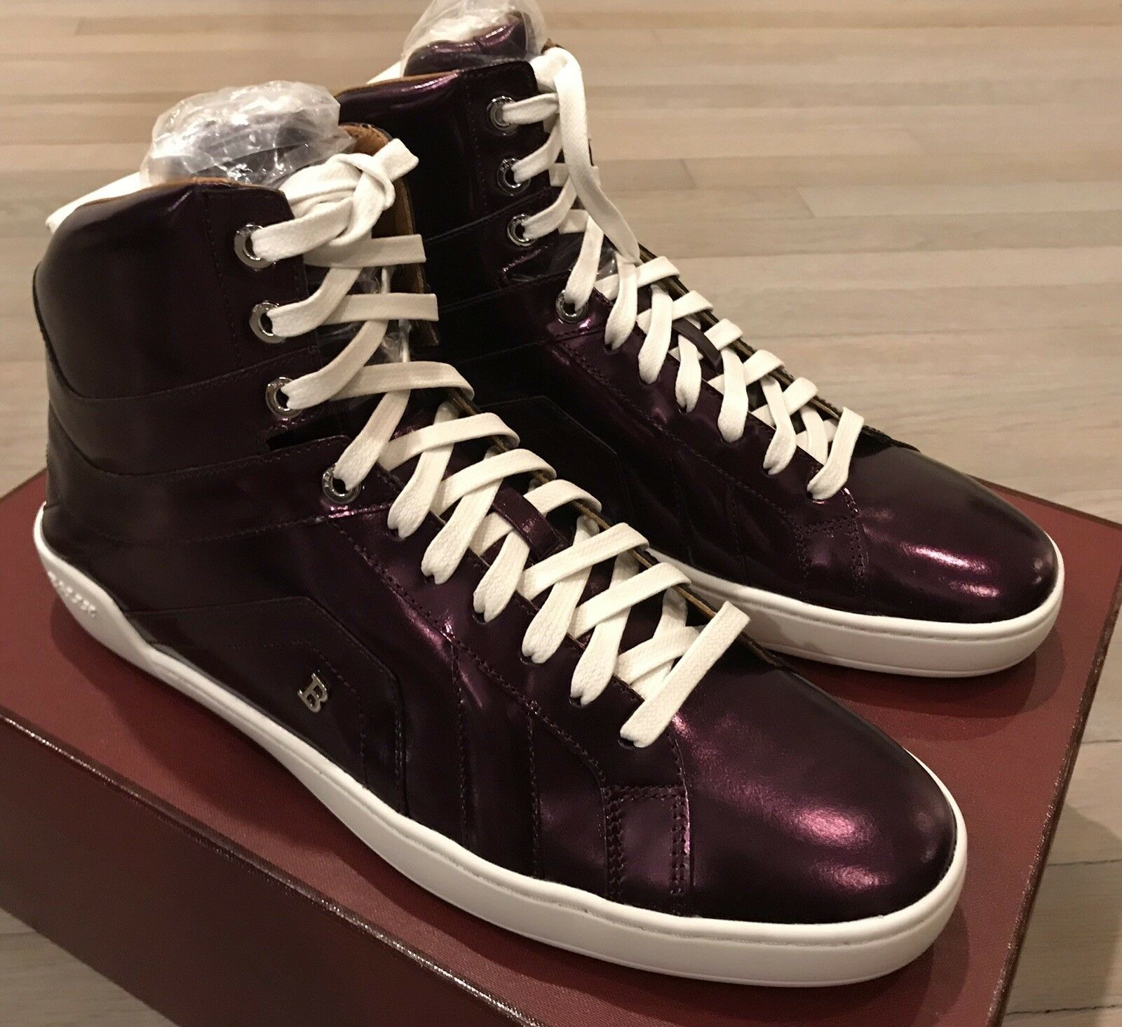 700  Bally Eticon 103 Purple Metallic Leather High Tops Sneakers size US 9