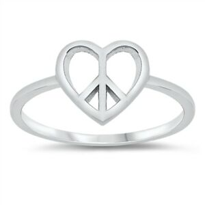 Love Ring Silver Rings Sterling Silver Peace Toe Ring Peace Ring