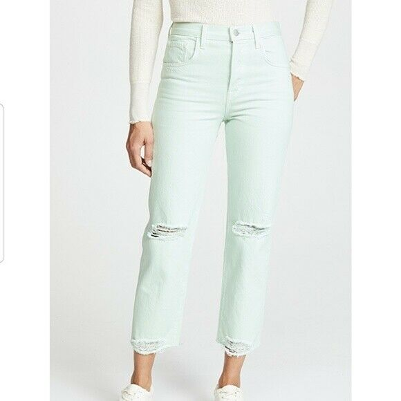 J Brand Women Wynne Crop Straight Jeans Spearmint Destruct 30