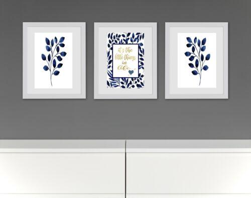 Indigo Blue Quotes Unframed Hampton/'s Style Wall Art Print Poster Set of 3