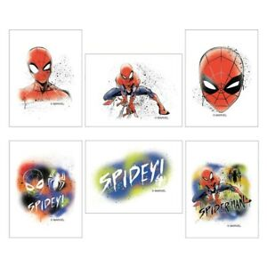 Spider-Man-Tattoos-x-12-Birthday-Supplies-Party-Favours-Loot-Bags-Spidey