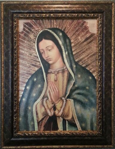 Gold  Framed Art 28x36 Embossed print Virgin Mary The Virgin De Guadalupe,
