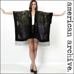 vtg-Sheer-GYPSY-VELVET-Burnout-draped-silk-KIMONO-Fringe-boho-dress-Cape-jacket