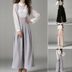 2b94842cf98 Image is loading New-Womens-Jumpsuit-Suspender-Loose-High-Waist-Wide-
