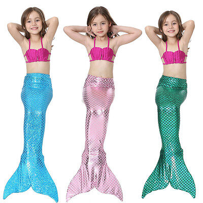 Girls Kids Mermaid Tail Swimmable Bikini Set Swimsuit Swimming Costume Cosplay