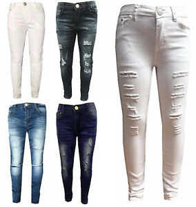 a5cd6a012ec Girls Stretchy Jeans Kids Ripped Skinny pants Denim Jeans Jeggings 5 ...