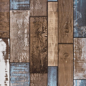 Reclaimed-Wood-Wallpaper-Roll-Vintage-Faux-Wood-Plank-Look-for-Home-Decal-NEW