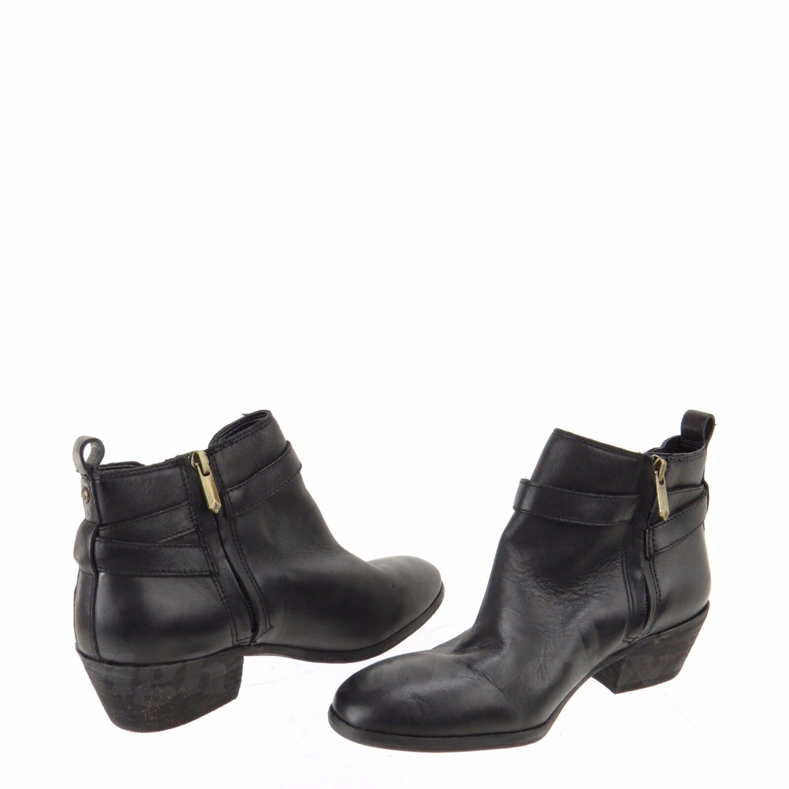 Sam Edelman Pacific Women's shoes shoes shoes Black Leather Strap Ankle Boots Size 7 W NEW 6b9ec0