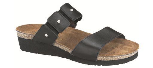Naot Ashley Black Madras Leather Slide Sandal Women's sizes 5-11 36-42 NEW