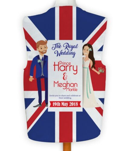 Cartoon Royal Wedding Union Jack Design Novelty Waistcoat Fancy Dress 19th May