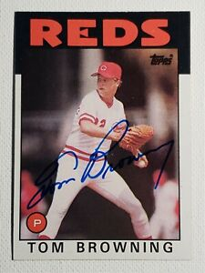 1986 Topps Tom Browning Auto Autograph Card Reds Signed #652