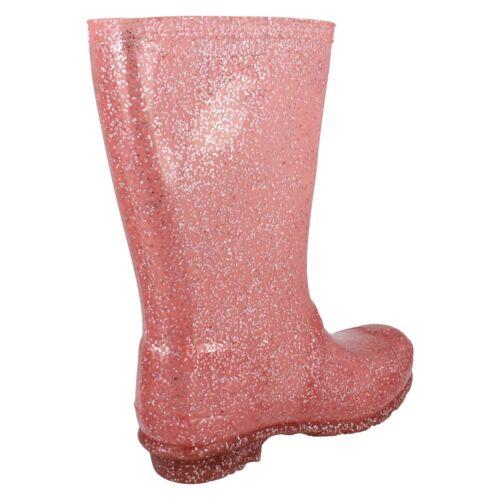 Ragazze Rose Rosa Glitter Spot On Scintillante Stivali Di Gomma//Stivali di gomma X1R253