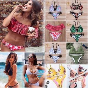 6f250a9608 Femme Maillot de Bain Bandage Ensemble Bikini Pompes Soutien-Gorge ...