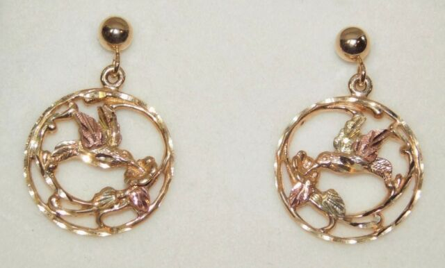 Black Hills Gold Dakota 10 Kt 12 Hummingbird Drop Earrings