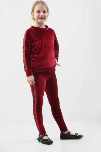 Kids Girls Velvet Stripe Tracksuit Set Lounge Wear Co-Ord Set 7-13 Years