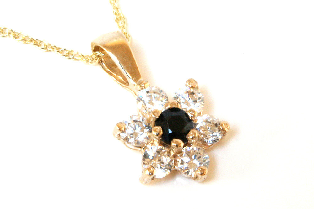 9ct gold Sapphire and CZ Cluster Pendant and chain Made in UK Gift Boxed