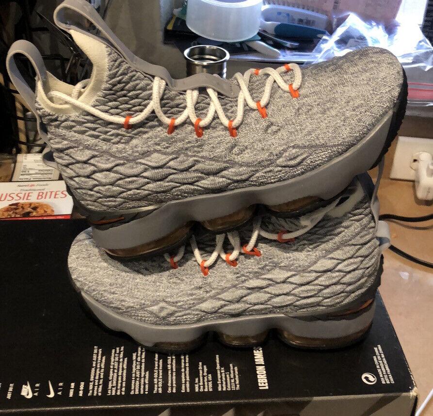 Nike Lebron XV 15 GS Grey Safety Orange Basketball Shoes 922811 ...