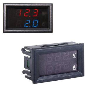 Voltmeter-100V-Amperemeter-10A-LED-Digital-Spannung-Strom-Panel-Rot-Blau