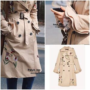 ebeafe507 NWT ZARA SS17 Camel DOUBLE BREASTED EMBROIDERED TRENCH COAT JACKET ...